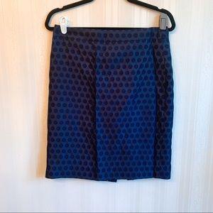 J.crew factory pencil skirt blue polka dot size 6